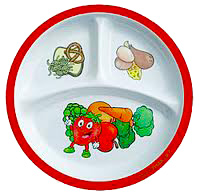 A children's dinner plate divided into three sections