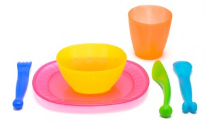 child-sized tableware and utensils made of plastics