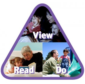 triangular-shaped array of images depicting children's activities